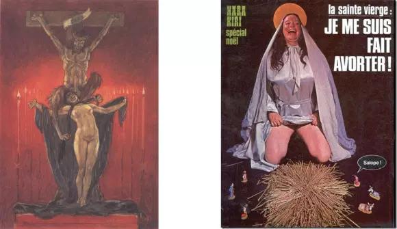 Le Christ satanique de Félicien Rops, la couv de «Hara-Kiri » sur l'avortement de la Vierge Marie.